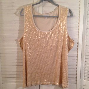 Fashion Bug 3X Gold Sequined Tank Top